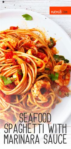 Seafood Spaghetti With Marinara Sauce Recipe - Healthy Dinner Recipes - Spaghetti Marinara Recipe, Seafood Marinara Recipe, Shrimp Marinara, Spagetti Recipe, Seafood Pasta Recipes, Seafood Dishes, Pasta Dishes, Shrimp Spaghetti, Recipes With Marinara Sauce
