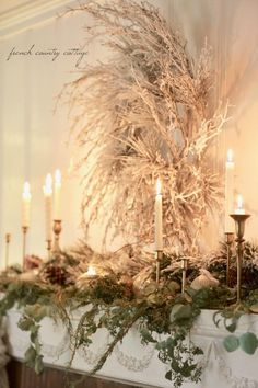 Natural Elegant Christmas Living Room Mantel - French Country Cottage