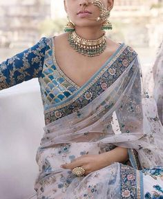 Gorgeous details with perfect shades of Blue💦💦 An elegant Couture Saree by Sabyasachi Pakistani Fashion Casual, Bollywood Fashion, Bollywood Style, Indian Bollywood, Bollywood Actress, Red Lehenga, Lehenga Choli, Sabyasachi, India Fashion