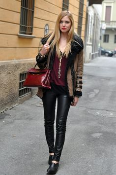 URBAN OUTFITTERS BLACK SHOES  MET LEATHER TROUSERS  BRANDY BURGUNDY SWEATER  ATOS LOMBARDINI NECKLACE  YVES SAINT LAURENT ARTY RING  AVIATOR JACKET thanks to STORETS  HERMES VINTAGE KELLY BAG  Mar