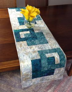 Modern Batik Table Runner  Teal and Taupe Quilted