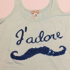 Sequins cute mustache tank- NEW ✨✨✨✨Adorable mint pastel blue jadore mustache tank. New with out tags. SIZE medium Tops Tank Tops