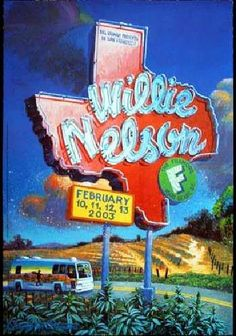 Original Bill Graham Poster by Chris Peterson for Willie Nelson at Fillmore Auditorium