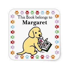 Curious Yellow Labrador Puppy Book Label Sticker!  #yellowlabrador #LabradorRetriever #booklabel #dog