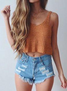 top crop tops crop summer top crochet crop top orange shorts high waisted shorts denim shorts summer shorts outfit