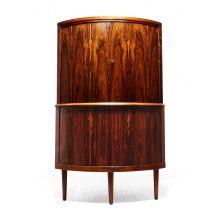 Mid Century Danish Rosewood Corner Cupboard by O Bank Larsen