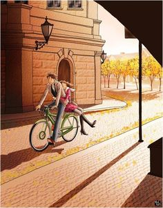 ❤️ Sunrise, Cycling and Us Good Wali Morning ❤️  Naya din apne sath nayi opportunities laaya hai, figure out your priority and go for it . Love Cartoon Couple, Cute Couple Art, Anime Love Couple, Cute Anime Couples, Couple Illustration, Illustration Art, Animated Love Images, Go For It, Couple Drawings
