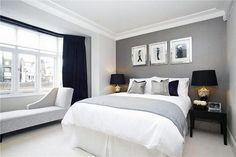 Gray and white bedroom ideas white and grey bedroom grey and navy bedroom ideas with promising . gray and white bedroom ideas Navy Bedrooms, Gray Bedroom, Trendy Bedroom, Bedroom Colors, Master Bedroom, Bedroom Retreat, Black White And Grey Bedroom, Bedroom Suites, Comfy Bedroom