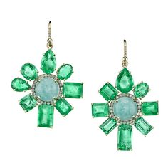 Irene Neuwirth 18k yellow gold One of a Kind Earrings with mixed emeralds, Amazonite and diamond pavé (by special order only; POA).