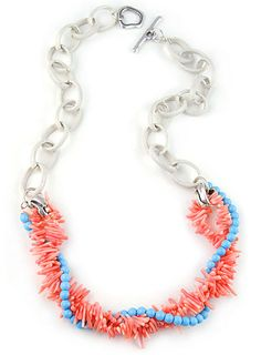Coral and Turquoise Beads Necklace and Steel Chain by Amor Fati