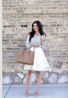 Cute outfit white full skirt