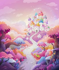 Illustration by Zutto Art And Illustration, Illustrations And Posters, Candy Art, Cartoon Background, Affinity Designer, Game Concept Art, Environment Concept Art, Environmental Art, Game Design