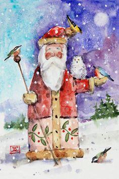 The Art of Dean Crouser Watercolor Fish, Watercolor Painting, Watercolors, Santa Paintings, Christmas Art, Christmas Images, Christmas Ideas, Christmas Wreaths, Doll Painting