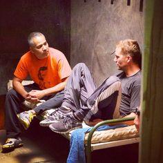 Paul Walker and John Ortiz on set