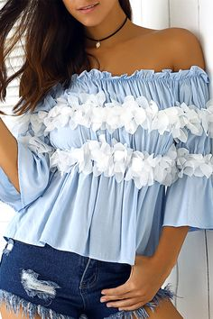 $15.34 Graceful Women's Off-The-Shoulder Flowers Bell Sleeves Blouse