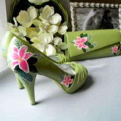 Wedding set Chartreuse painted shoes and bag Orchid by norakaren, $370.00