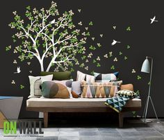 Nature Wall Decal Tree, Wall Decals, Wall stickers, Nursery wall decal, wall stickers- Wind Blowing leaves K018