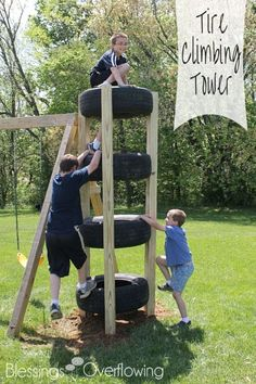 Great list of DIY outdoor play areas including this DIY Kids outdoor climbing tower from old tires via Blessings Overflow. Great list of DIY outdoor play areas including this DIY Kids outdoor climbing tower from old tires via Blessings Overflow. Diy Playground, Playground Design, Toddler Playground, Outdoor Play Spaces, Outdoor Fun, Outdoor Games, Diy Outdoor Toys, Outdoor Toys For Kids, Play House Outdoor Kids