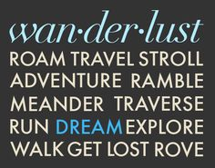 Wanderlust Travel Typography Print  11x14 Poster art by noodlehug
