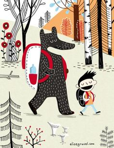 Elise Gravel • Summer camp with bear • Camp d'été avec ours