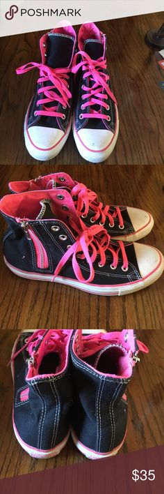 High top Converse sneakers High top Converse sneakers with side zipper men's 8 women's 10 Converse Shoes Sneakers