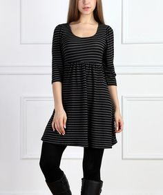 Look what I found on #zulily! Black & White Stripe Empire-Waist Dress #zulilyfinds