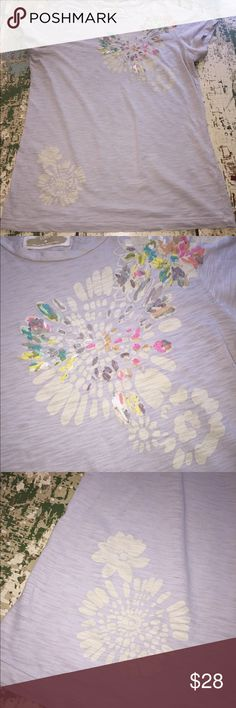 Vintage JCrew slub embellished tshirt Super cute grey tshirt...super soft fabric with painted flowers and ribbon accents. This shirts is in GUC...although the ribbon has pulled the fabric in a few places. See photo. This is a classic JCrew tshirt-- they haven't been making fun ones like this lately!! J. Crew Tops Tees - Short Sleeve