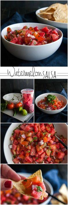 Watermelon salsa recipe from @sweetphi, summer recipes, watermelon recipes, twist on salsa, watermelon pico de gallo, cold recipes for summer