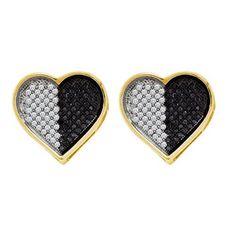 10k White Gold 0.26Ctw Diamond Heart Earring
