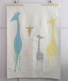 Custom modern patchwork Giraffe baby quilt, animal baby blanket, Safari nursery theme, nursery bedding, shower gift idea, made to order