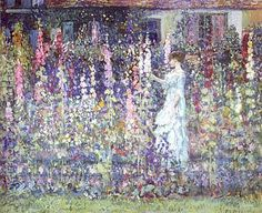 Hand painted reproduction of Hollyhocks. This masterpiece was painted originally by Frederick Carl Frieseke. Museum quality handmade oil painting reproduction oil painting on canvas. Buy Now!.