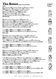 The Boxer (Simon and Garfunkel) Ukulele Chords Guitar Chords And Lyrics, Ukulele Chords Songs, Cool Ukulele, Guitar Chords For Songs, Guitar Chord Chart, Music Guitar, Guitar Lessons, Acoustic Guitar, Music Lessons