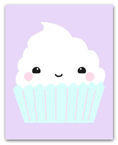 Kawaii Cupcake Illustration Wall Art Print For Kitchen, Nursery And Kids Room