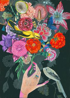 Spring in bloom! Illustration by Olaf Hajek.  Love the flowers for inspiration.