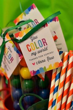 """Art Birthday Party favors - rainbow gum balls """"you COLOR my world…thanks for coming"""""""