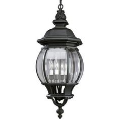 Onion Cast Hanging Lantern with Clear Beveled Glass in Black by Progress Lighting. $213.48. P5501-31 Features: -Solid brass interior components.-Clear beveled glass panels.-6 feet 9 gauge black chain supplied.-Matching wall and post top units available.-Chain hung ceiling mount.-Covers standard junction box.-Mounting strap for outlet box is supplied.-Candelabra based sockets.-15 feet of wire.-Pre-wired.-UL-CUL damp location listed.-15 feet of wire.-Overall Height w...