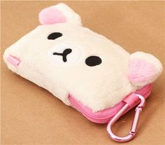 fluffy Korilakkuma plush pouch with see-through panel by San-X