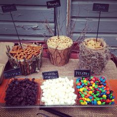 Mossy oak camo baby shower, trail mix bar