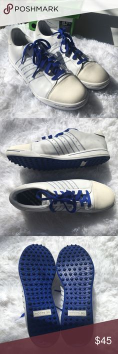 Worn once! Adidas Adicross Golf Shoe Men's 11.5 Worn once! Adidas Adicross Golf Shoe Men's 11.5, includes original box. White with blue accent. Product 816456. adidas Shoes Athletic Shoes