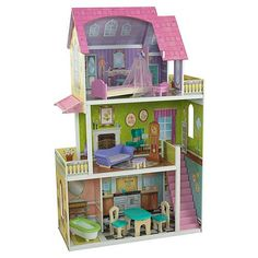Our latest dollhouse is here, and it's a real beauty! The Florence Dollhouse is as elegant as can be, with colorful graphics and detailed furniture pieces<br>This wooden dollhouse gives young girls everything they need to play pretend and have the time of their lives<br><ul><li>10 pieces of dollhouse furniture, including a hanging chandelier, a canopy bed and a grandfather clock</li><br><li>Molded plastic staircase</li><br><li>Four rooms and two outdoor patio areas to play in and explo...