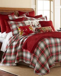Exclusively Ours - Mad For Plaid Luxury Quilt-Bedding Collections-Nina Campbell Home-Featured Brands-Bed & Bath Plaid Bedding, Quilt Bedding, Plaid Quilt, White Bedding, Tartan Plaid, Luxury Bedding Collections, Luxury Bedding Sets, Ikea, Master Suite