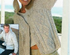 """womens / mens aran cardigans knitting pattern PDF ladies cable jackets round v neck larger sizes 32-54"""" aran worsted 10ply Instant download"""