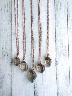 30 Dazzling Gifts for the Jewelry-Obsessed: 2016 Etsy Gift Guide Raw Gemstone Jewelry, Quartz Crystal Necklace, Crystal Pendant, Crystal Jewelry, Etsy Jewelry, Jewelry Gifts, Jewelry Accessories, Jewelry Design, Jewellery
