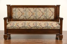 Oak 1900 Antique Hall Bench or Settee, size is long, deep, tall and the seat is high. Diy Furniture Chair, Reupholster Furniture, Sofa Upholstery, Furniture Design, Wooden Sofa Set Designs, India Home Decor, Simple Sofa, Hall Bench, Settees