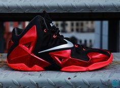 NIKE LEBRON XI BLACK/METALLIC SILVER-UNIVERSITY RED-BRIGHT CRIMSON #sneaker