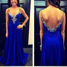 2017 New Arrival Prom Dress,Long Prom Dress,Sexy Spaghetti Strap Royal Blue Prom Dresses Chiffon A-Line V neck Backless Beading Long Evening Gown Dress