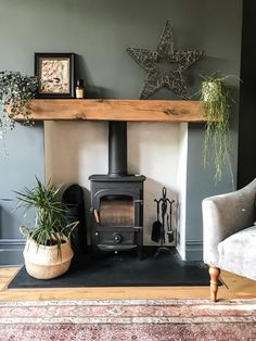 Victorian Living Room, Cottage Living Rooms, New Living Room, Living Room Decor, Dark Wood Furniture Living Room, Wood Burner Fireplace, Home Fireplace, Wood Stove Wall, Log Burner Living Room