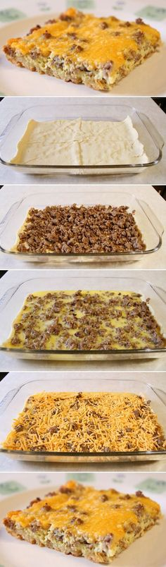 *Not so yummy* Breakfast Casserole. Our favorite breakfast for dinner! You can also make ahead and pop into the oven in the morning. Breakfast Desayunos, Breakfast Dishes, Breakfast Recipes, Sausage Breakfast, Breakfast Casserole With Croissants, Breakfast Cassrole, Easy Breakfast Ideas, Breakfast Croissant, Crescent Roll Breakfast Casserole