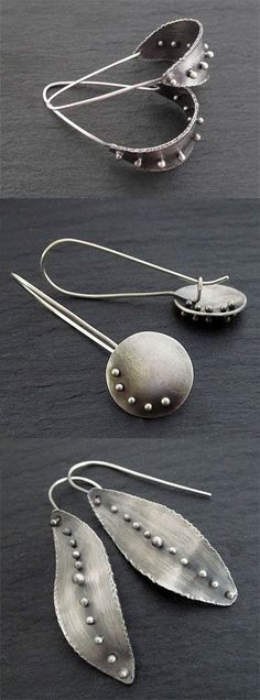 Earrings handmade in sterling silver - Sterling silver statement earrings, metalwork jewelry - Silver Necklaces, Sterling Silver Earrings, Silver Rings, 925 Silver, Silver Metal, Luxury Jewelry, Gold Jewelry, Handmade Silver Jewelry, Glass Jewelry