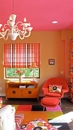 Pink ceiling with orange walls would be so much fun in either a girl's nursery or bedroom.